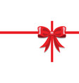 gift greeting card with red ribbon knot on white vector image vector image