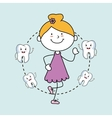 girl with teeth isolated icon design vector image