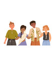 group happy young people different races vector image vector image