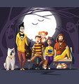 halloween characters friends characters colors vector image