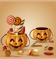 halloween pumpkins basket and collected candy vector image vector image