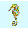 Hand drawn cartoon seahorse vector image vector image