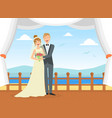 happy just married couple at wedding ceremony on vector image vector image