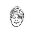 head unshaven man in knitted hat with bubo and vector image vector image
