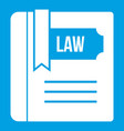 Law book icon white vector image