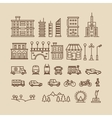 line elements city buildings houses trees vector image vector image