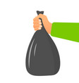 male hand holding garbage bag concept vector image