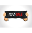 man holding a black friday sale banner vector image