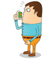 Man using inhaler vector image