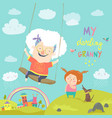 old woman swinging on a baby swing vector image