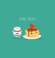 pancakes raspberry jam vector image vector image