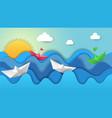 paper boats on dawn origami sunrise regatta in vector image