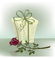 Present box with purple rose vector image