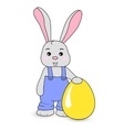 Rabbit boy in overalls vector image vector image