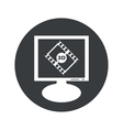 Round 3D movie monitor icon vector image vector image