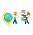 school boys studying globe carrying book pile vector image vector image