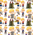 Seamless background with cute boys vector image vector image