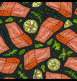 seamless pattern of salmon fillet lemon vector image vector image