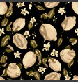 sepia color seamless pattern with lemon tree vector image