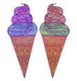 set of colored of ice cream cones with boho vector image vector image