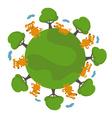 Set of happy cartoon dogs in earth vector image vector image