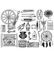 set of tools for hobby sewing elements vector image