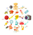 sports hobby icons set cartoon style vector image vector image