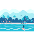 surfing girl on a beach palm sand ocean vector image