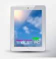 white tablet pc with blue sky blurred background vector image