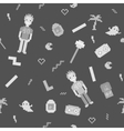 Pixel art 90s retro style grayscale seamless vector image
