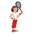 female tennis player vector image