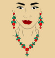 a girl in jewels necklace and earrings in the vector image