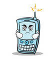 angry face phone character cartoon style vector image vector image