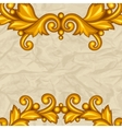 Background with baroque ornamental floral gold vector image vector image