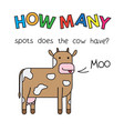 cartoon cow counting game for kids vector image vector image
