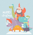 cartoon santa claus with gifts sitting on dinosaur vector image