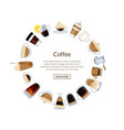 circle of coffee cups vector image vector image