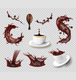 coffee splashes transparent set vector image vector image
