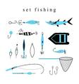 Collection of various fishing gear made in a mode vector image vector image