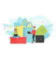 customers evaluating product or service tiny vector image