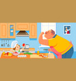 cute girl and her grandparent cooking in kitchen vector image vector image