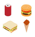 fast food burger sandwich drink and ice cream vector image