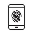 fingerprint security on smartphone vector image vector image