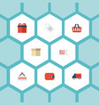 flat icons bus case purse and other vector image vector image