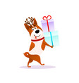 funny cartoon dog with xmas gift happy puppy vector image vector image