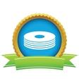 Gold disk logo vector image vector image