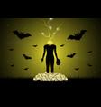 halloween headless zombie skull bat vector image vector image