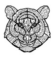 hand drawn doodle outline tiger head vector image vector image