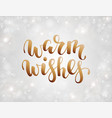 handdrawn lettering warm wishes design for vector image vector image