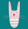 happy easter bunny inside a cracked egg vector image